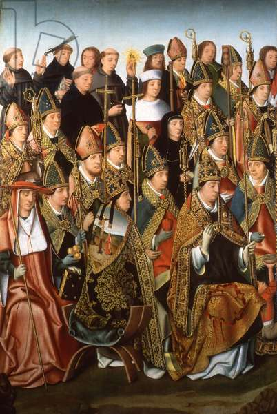 Saints and Doctors of the Church, c.1490-1500 (oil on panel)