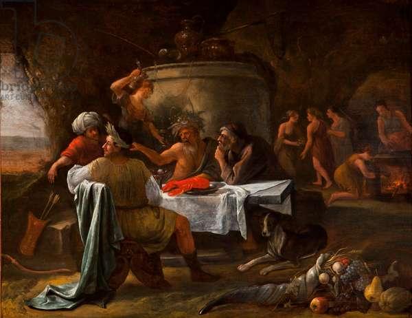 Theseus and Achelous, 1659-60 (oil on oak panel)