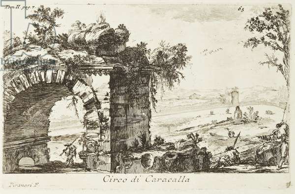 Circus of Caracalla on the via Appia, from the series 'Vedute di Roma', plate 65, 1745 (etching)