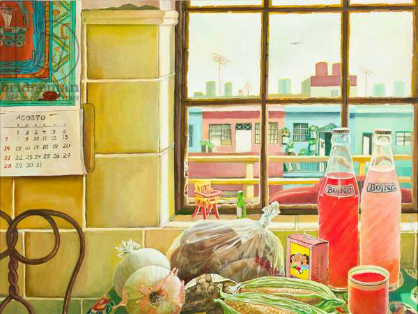 Cocina con vista al viaducto (Kitchen with View of the Viaduct), 1995 (oil on canvas and panel)