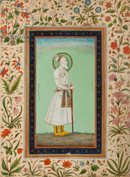 Portrait of Emperor Aurangzeb (ink and colour on paper)