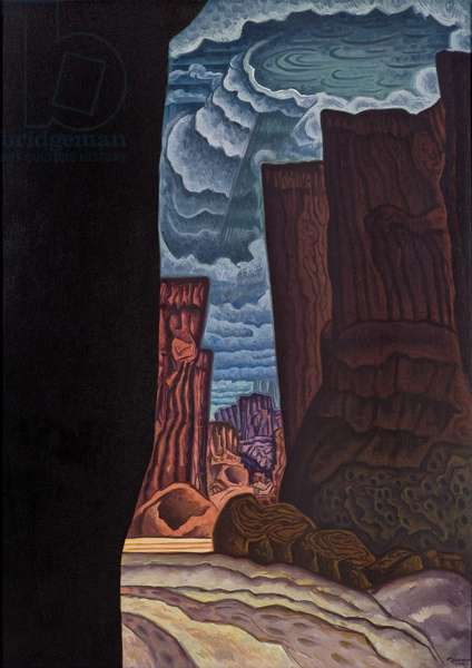 Cañon de Chelly, 1928 and 1972 (oil and sand on canvas)