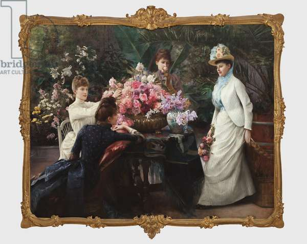Spring Flowers (In the Conservatory) 1890 (oil on canvas)