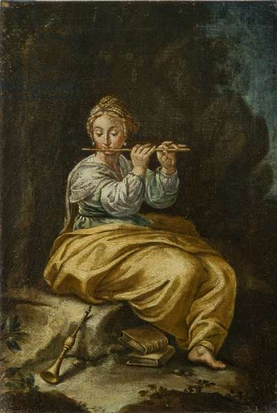 Untitled - Woman with Flute (oil on canvas)