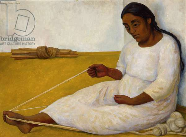Indigena tejiendo (Indian Spinning) 1936 (oil on canvas)