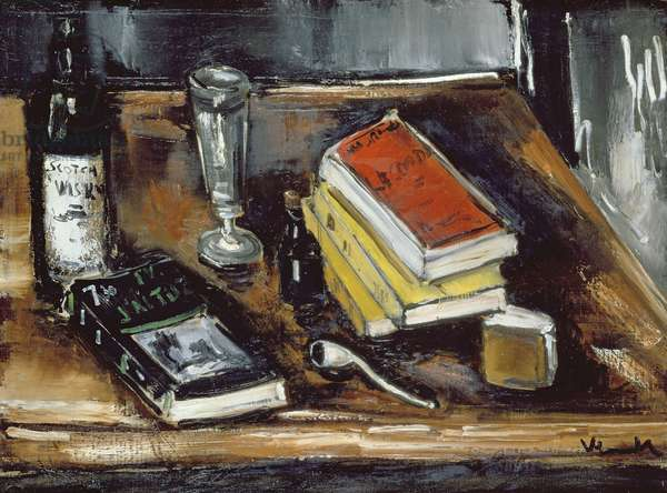 Still Life with Books (oil on canvas)