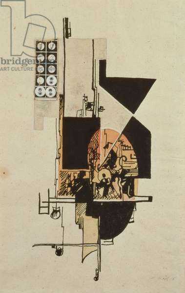 Abstract Composition, 1918 (pen & ink, w/c and gouache on paper)
