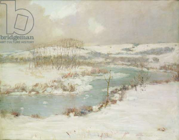 A Stream in Winter (oil on canvas)