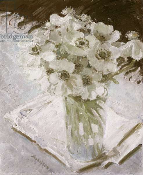 White Anemones (oil on canvas)
