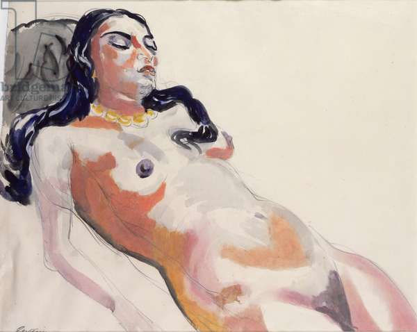 Sunita Reclining (w/c, ink & pencil on paper)