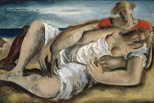 Lovers on the Beach, 1933 (pen & ink and gouache)
