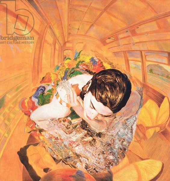 Banista en el Interior del Tranvia de Luis G. Serrano, 2005 (oil & acrylic on fabric)