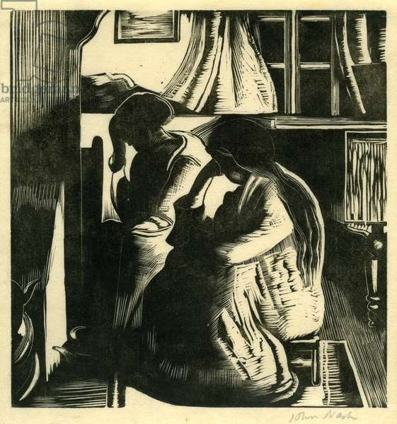 By the Fire (wood engraving)