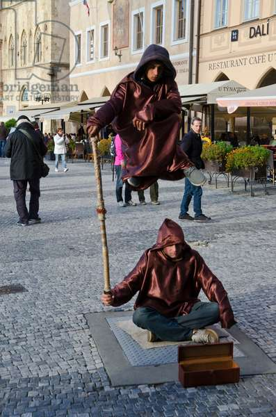 Street performers 'levitating' on Old Town Square, Stare Mesto (Old Town), Prague, Czech Republic(photo)