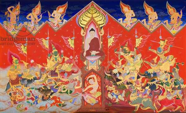 'The Buddha conquering Mara', Harnham Buddhist Monastery, Northumberland, United Kingdom (mural)