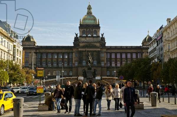 Wenceslas Square & St. Wenceslas Monument in front of National Museum, Prague, Czech Republic(photo)