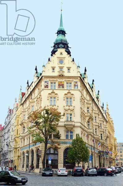 Neo-Gothic Art Nouveau facade of Hotel Pariz (Hotel Paris), Stare Mesto, Prague, Czech Republic(photo)