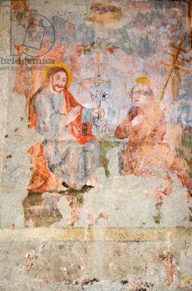 Christ handing the Keys of the Kingdom to St. Peter -  'traditio legis' , 1629 fresco, St. George Cathedral (Limburger Dom), Limburg an der Lahn, Hesse, Germany(photo)