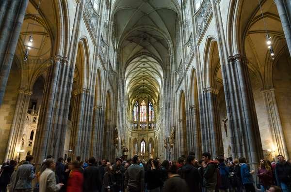 St. Vitus Cathedral: Interior with visitor crowd, Prague Castle, Prague, Czech Republic(photo)