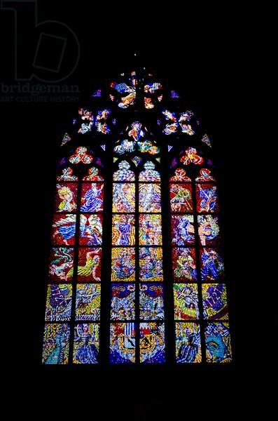 St. Vitus Cathedral: Stained glass window (Karel Svolinsky, 20th cent.), Prague Castle, Prague, Czech Republic(photo)