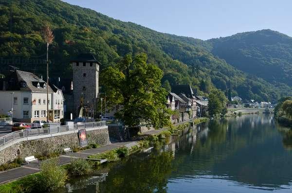 Medieval German village with gate tower on Lahn river, Dausenau, Rhein-Lahn District, Rhineland-Palatinate, Germany(photo)