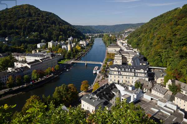 Bad Ems on River Lahn, one of Germany's most famous 17-18th century spas, Nassau Nature Park, Rhein-Lahn District, Rhineland-Palatinate, Germany(photo)