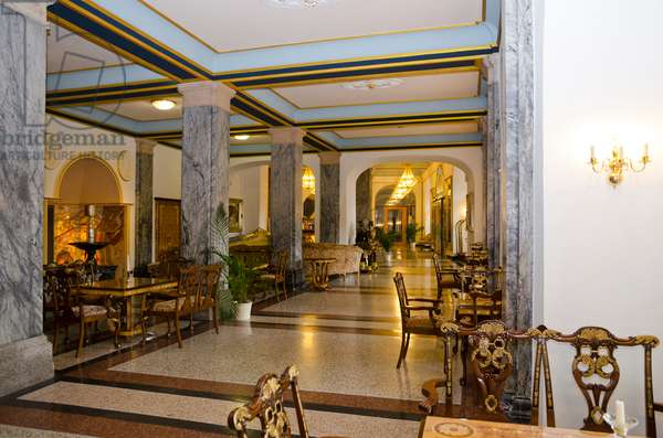 Lobby in historic 'Kurhaus' (now Haecker's Spa Resort Grand Hotel) in Bad Ems on River Lahn, one of Germany's most famous 17-18th century spas, Rhein-Lahn District, Rhineland-Palatinate, Germany(photo)
