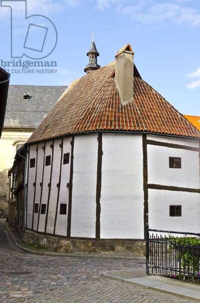 Ridge Post Framing Construction, 14th Century House, Quedlinburg (UNESCO World Heritage Site), Harz District, Saxony-Anhalt, Germany (photo)