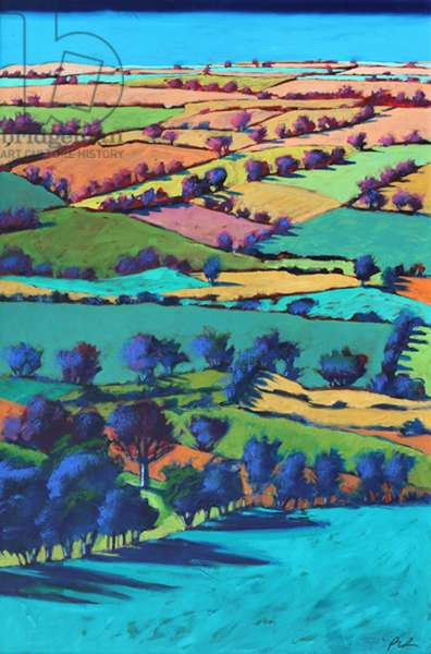 Teme Valley summer I (acrylic on board)