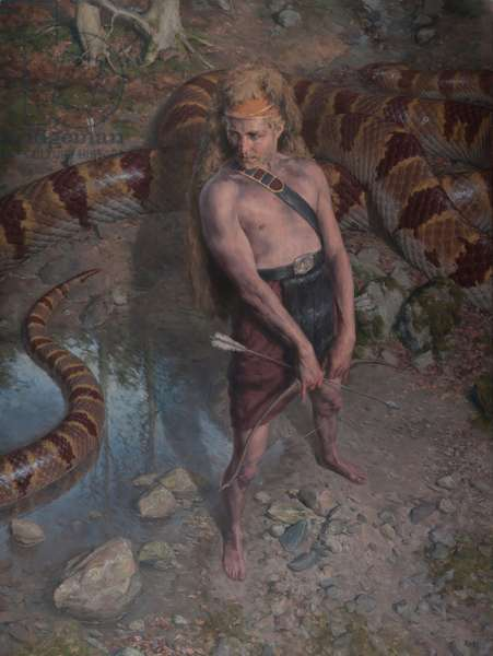 Apollo and Python, 2015 (oil on canvas)