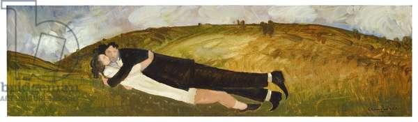 Lovers on a hillside (oil on board)