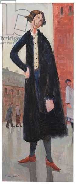 Woman in a Black Coat (oil on board)
