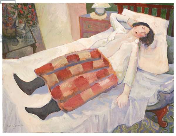 Girl on a Red Bed (oil on board)
