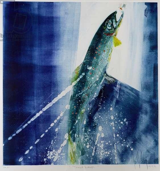 Trout Leap, 1993 (monoprint)