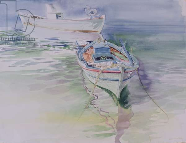 Moored Rowing Boat, Chios, 1995 (w/c on paper)
