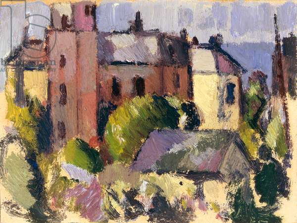 House with Tower (oil on panel)