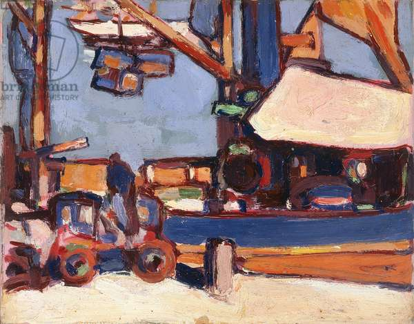Loading in Royan Harbour, 1910 (oil paint on board)