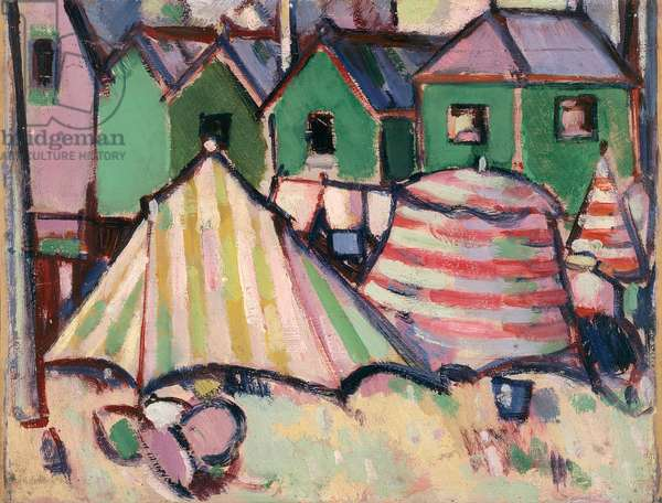 Bathing Boxes and Tents at St. Palais, 1910 (oil paint on board)
