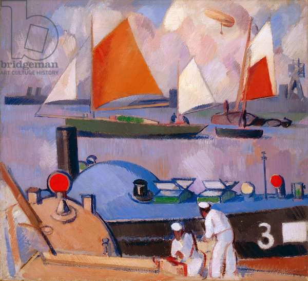 Blue Submarine (Portsmouth Harbour), 1918 (oil paint on canvas)