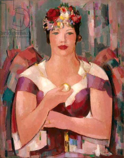 Female Figure in Floral Hat, 1941 (oil on canvas)
