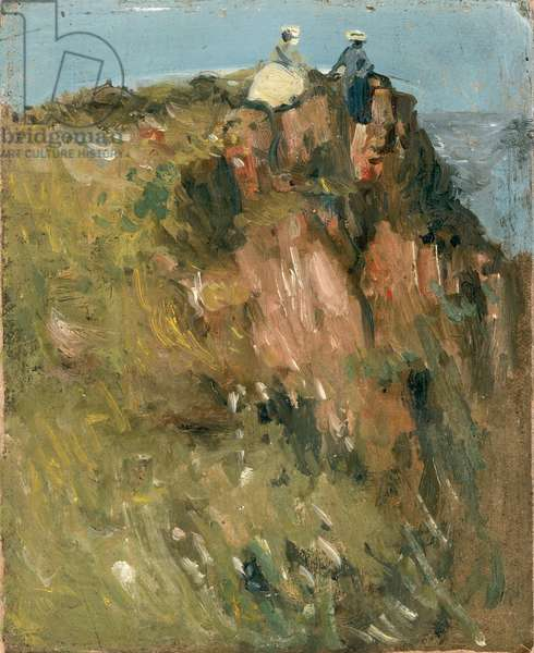 Figures on Cliff Top (oil on panel)