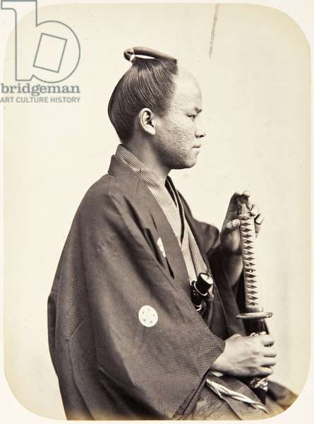 Portrait of a nineteen–year–old Japanese man named Shioda Saburō, a samurai and officer on the 1864 Ikeda mission to France, employed as an interpreter of French and English, 1864 (albumen print)