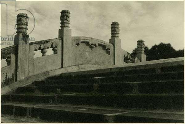 Near the top of the Jade Belt Bridge (Camel's Back Bridge), Beijing, 1937 (bromide print)