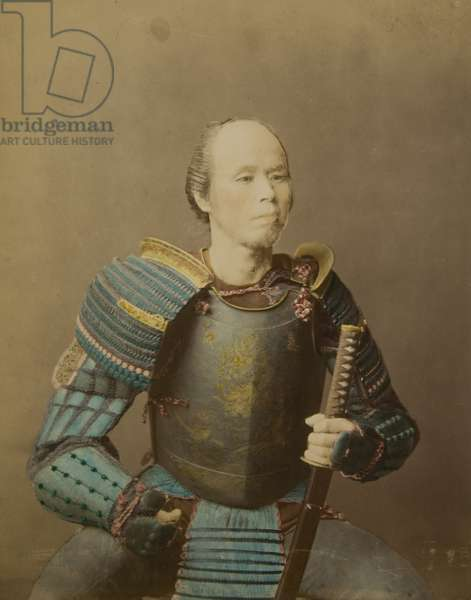 Portrait of a Japanese Warrior in Armour, c.1860 (hand-coloured albumen print)