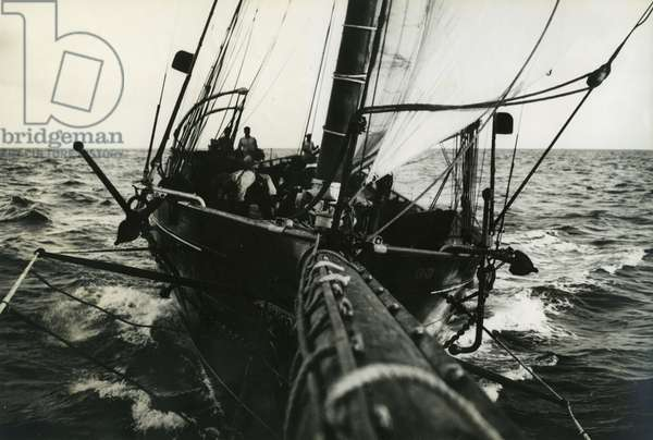 On a schooner (sailing ship): the