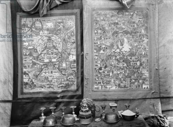 Two thanka depicting scenes from the lives of Lopon Rimpoche and Milarepa, c.1920-21 (glass plate gelatin print)