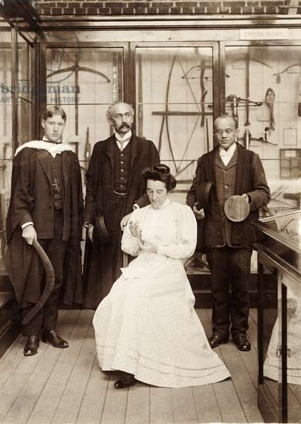 The first Diploma students in Anthropology with curator Henry Balfour at the Pitt Rivers Museum, Oxford, 1908 (b/w photo)