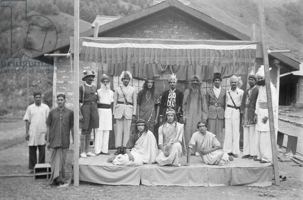 Members of the 27th Rajputs who staged a drama for the entertainment of the Mission when they halted at Yatung, Tibet, 1936 (negative film nitrate)