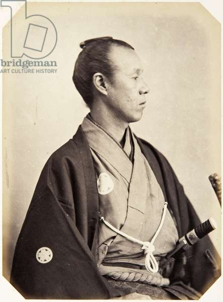 Portrait of a thirty–seven–year–old Japanese man named Tanaka Rentarō, a samurai and officer (performing the function of deputy secretary) on the 1864 Ikeda mission to France, 1864 (albumen print)