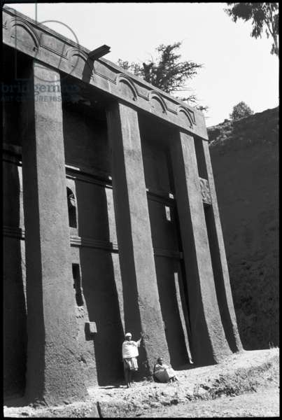 View of the monolithic rock-hewn church of Medhane Alam at Lalibela, Ethiopia, 1959 (b/w photo)